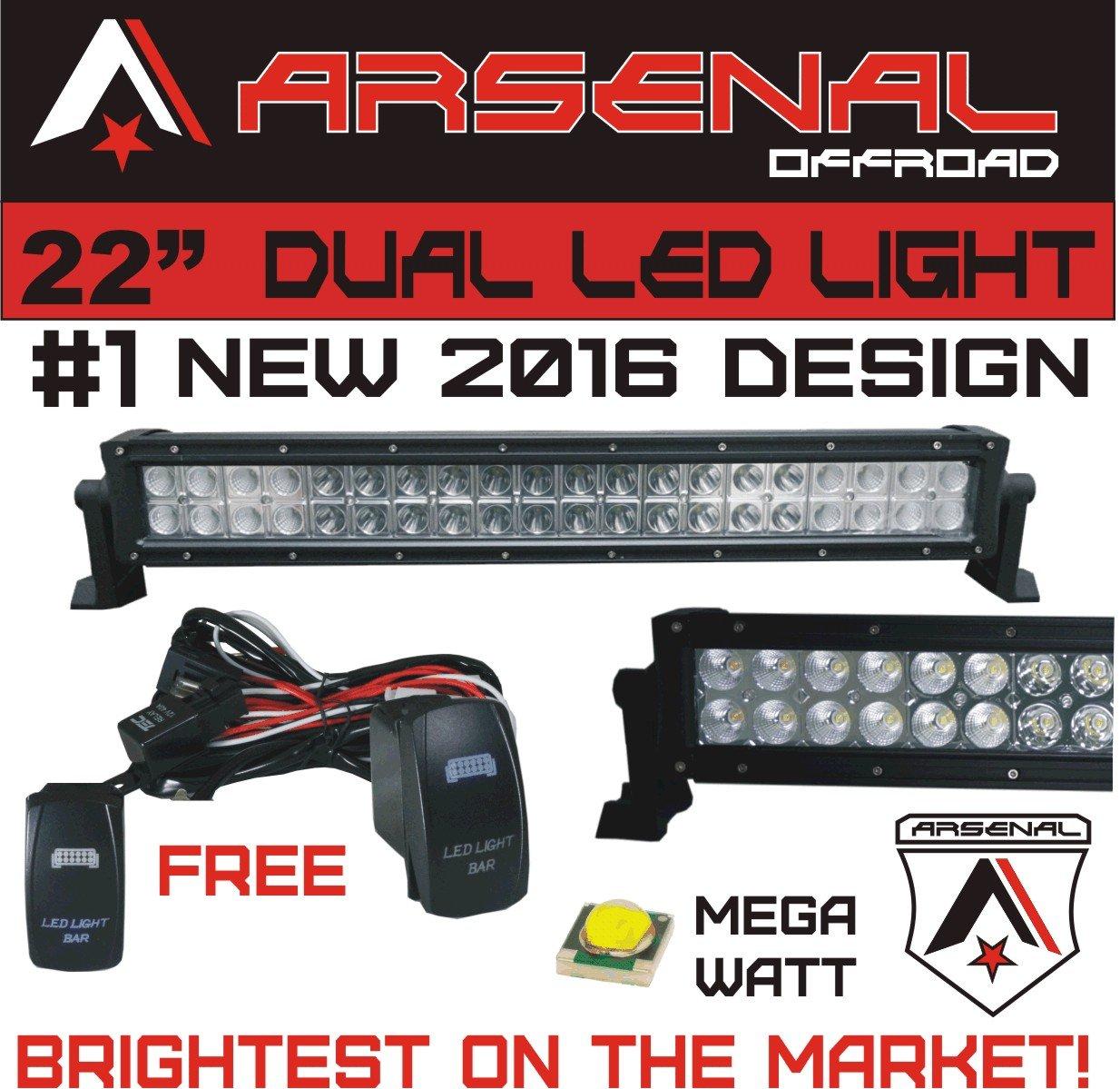 Arsenal Offroad Tm 40 Amp Relay 30amp Fuse Laser Blue Off Road Led Lights With Wiring Harness 1 2016 22 Mega Watt Light Bar 20 Of Leds