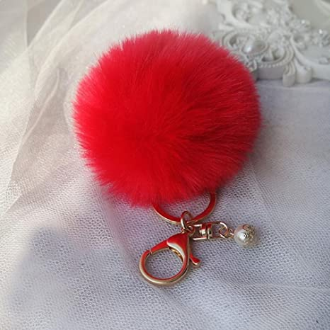 Rouge ILOVEDIY Pompon Fourrure Sac de Porte-cl/és Pendentif Anneau de Voiture Fourrure de Lapin Porte cl/é