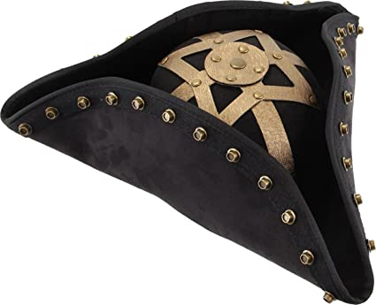 Blackbeard Pirate Super Deluxe Ultra-Suede Costume Hat fwith Gold Metal Rivets and Antique Gold Lame Metal Design by Elope