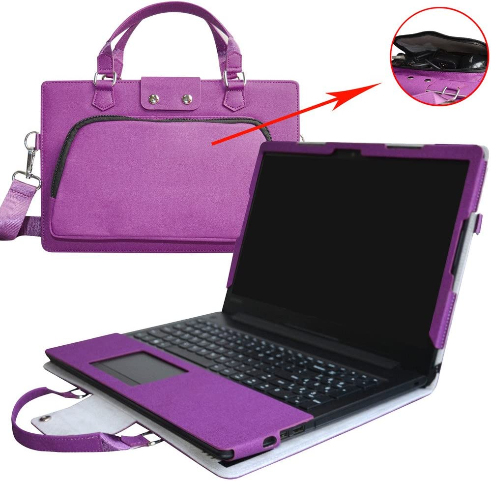 "Ideapad 320s 15 Case,2 in 1 Accurately Designed Protective PU Leather Cover + Portable Carrying Bag For 15.6"" Lenovo Ideapad 320s 15 Series Laptop(Not Fit Ideapad 320s 14&13/Ideapad 320 Series),Purple"