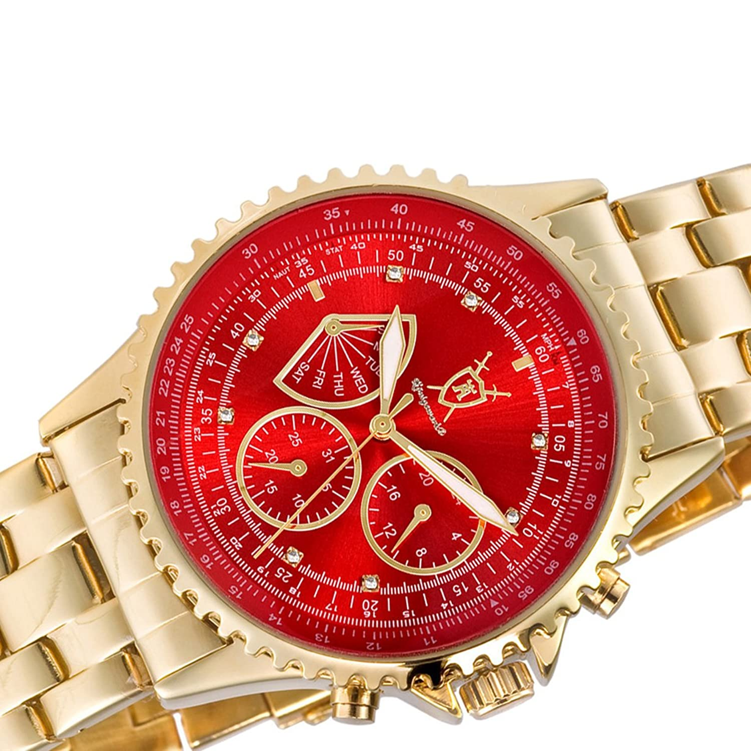 zalyel gold s men bracelet com watches red multifunction day mens watch konigswerk date dp amazon dial