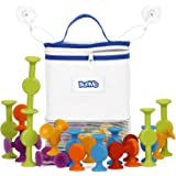 BunMo Bath Toys with Suction Bathtub Toy Organizer - 24 Pack Brilliant Stem Learning Educational Toys for 3 Year olds and Abo