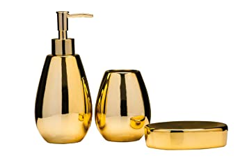 premier housewares magpie bathroom set set of 3 gold