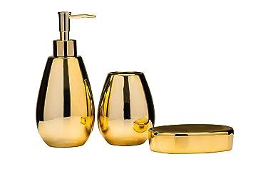 Premier Housewares Magpie Bathroom Set   Set Of 3, Gold