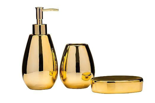 premier housewares magpie bathroom set set of 3 gold