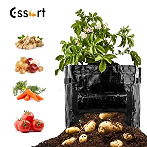 ESSORT Plant Grow Bag, 8 Gallon Garden Grow Bag with Ventialated Drainage Holes, Flag & Handles, Thicken PE Gardening Plant Pots, Potato Planter Bag Container for Vegetable Tomato Onion Black