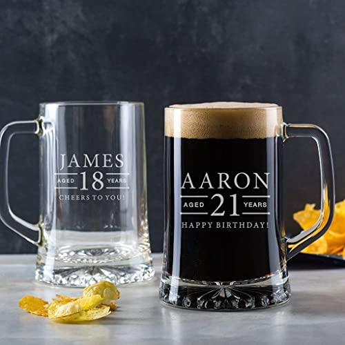 Personalized Tankard Glass Pint Beer Gifts For 18th Birthday Men 21st