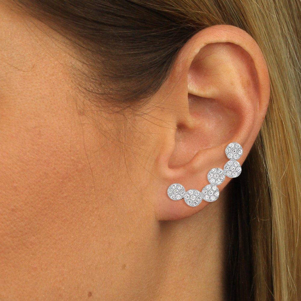 SilberDream Ear Cuff Kreise Zirkonia Ohrringe Ohrklemme 925 Silber GSO423W