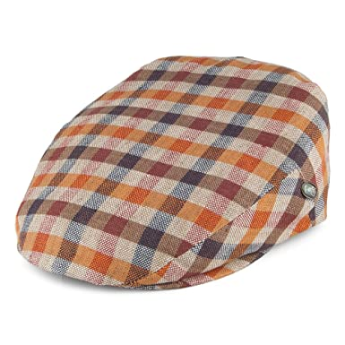 City Sports Hats Square Check Linen Flat Cap - Blue-Brown 2XLARGE ... ae478581e953