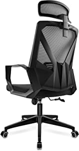 DAVEJONES Office Chair Desk Computer Ergonomic High Back Mesh Chair, Pure Memory Foam Adjustable Headrest Lumbar Support PU Caster Swivel Gaming Rolling Chair (Grey)