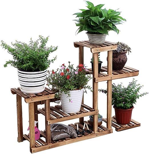 TZX Soporte Plantas Soporte Macetas Soporte De Escalera De Flores con 5 Gradas Balcón Terraza De Jardín Estante De Exhibición De Flores Retro: Amazon.es: Hogar