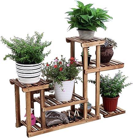 HBY Soporte Macetas Soporte De Escalera De Flores con 5 Gradas Balcón Terraza De Jardín Estante De Exhibición De Flores Retro Puesto de Flores: Amazon.es: Hogar