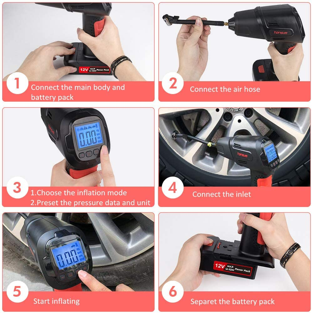 Portable Smart Cordless Tire Inflator Pump with Digital Pressure Gauge Rechargeable Li-ion Battery Air Pump for Car Motorcycle Bike Air Bed Balls Inflatable Toys