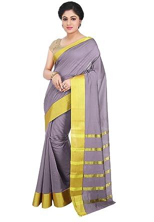 9689b1e0ed Amazon.com: Platinum Cotton Silk Saree in Blue With Blouse Piece: Clothing