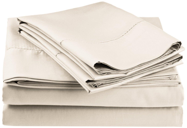 Split King Taupe Superior CR600SKSH FATPBO 600 Thread Count Rich Hem Stitch Sheet Set with Bonus Pillowcases