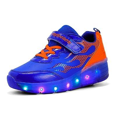 Meurry Kinder Roller Schuhe Skates Schuhe LED Skatesboard Schuhe Roller Skate Schuhe mit Rädern Licht Single Wheel Sportschuhe Jungen Mädchen (29 EU,Blau)
