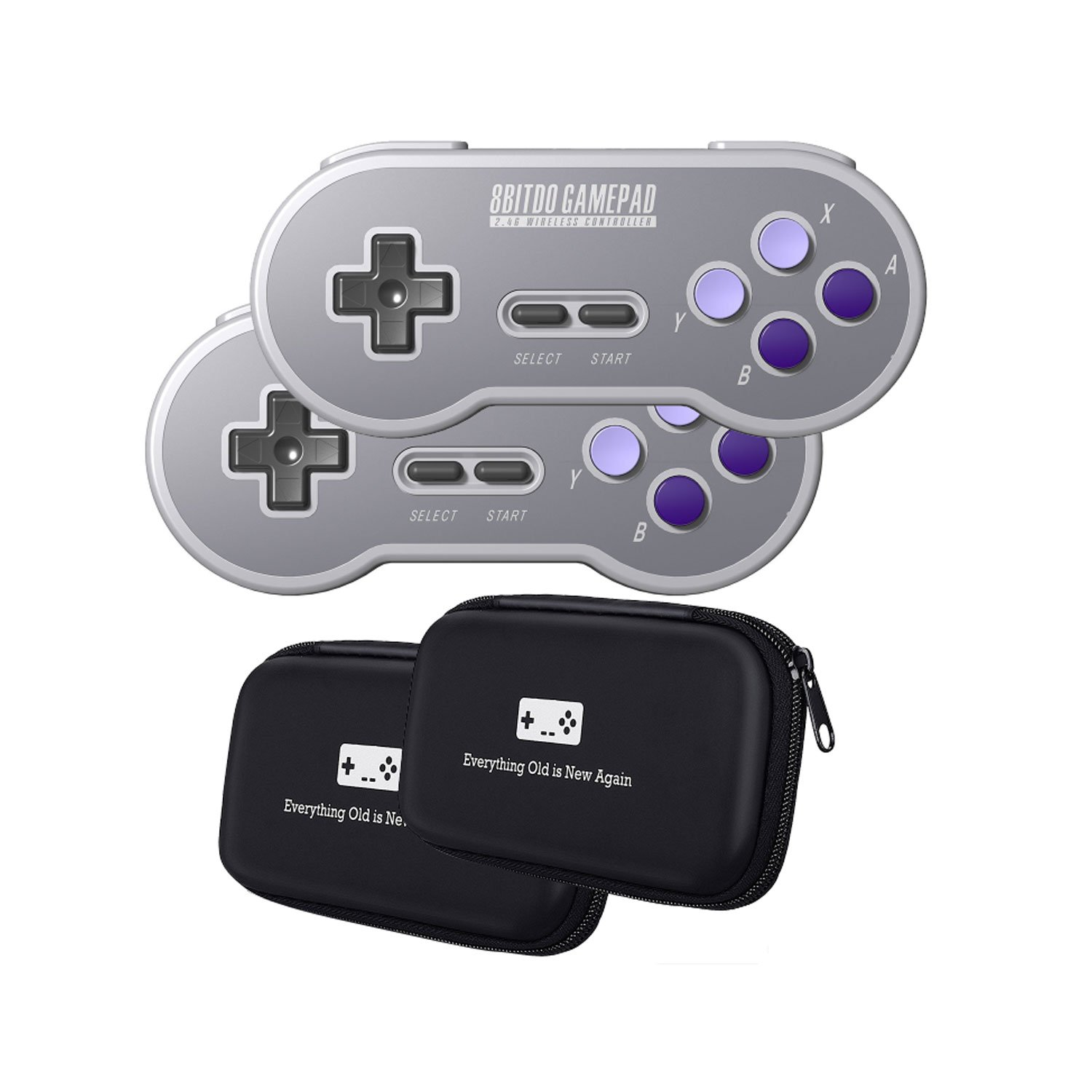 8Bitdo SN30 2 4G Wireless Controller Double-Pack Bundle with Bonus Carrying  Cases - NES, SNES, SFC Classic Edition