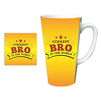 Buy YaYa CafeTM Birthday Gifts For Brother Worlds Coolest Bro Latte Mug With Coaster Combo Set Of 2 Online At Low Prices In India