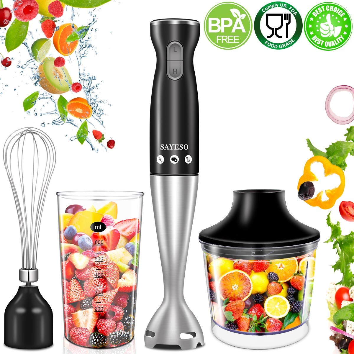 Hand Blender, (New Version) 4-in-1 Multifunctional Electric Immersion Blender with Ballon Whisk, 16oz Chopper Bowl and BPA-Free Beaker for Baby Food, Shakes, Smoothies, Sauces, Soup and More [FDA/ETL Approved] SAYESO