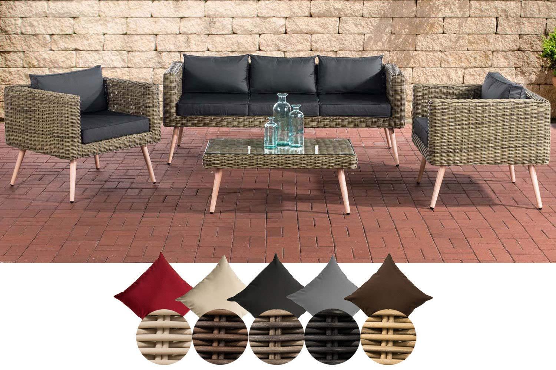 CLP Polyrattan Loungeset MOLDE 3-1-1 I Natura I Gartenlounge Rundrattan I Sofa + 2X Sessel + Glastisch I 5mm Rattandicke 45 cm (Hellbraun), Anthrazit