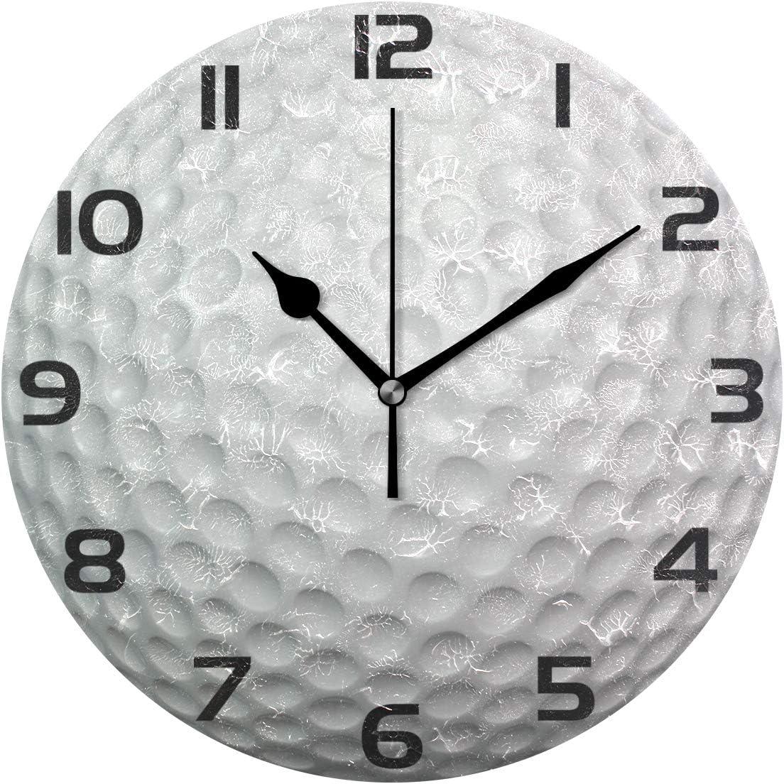 ALAZA Golf Ball Clock Acrylic Painted Silent Non-Ticking Round Wall Clock Home Art Bedroom Living Dorm Room Decor