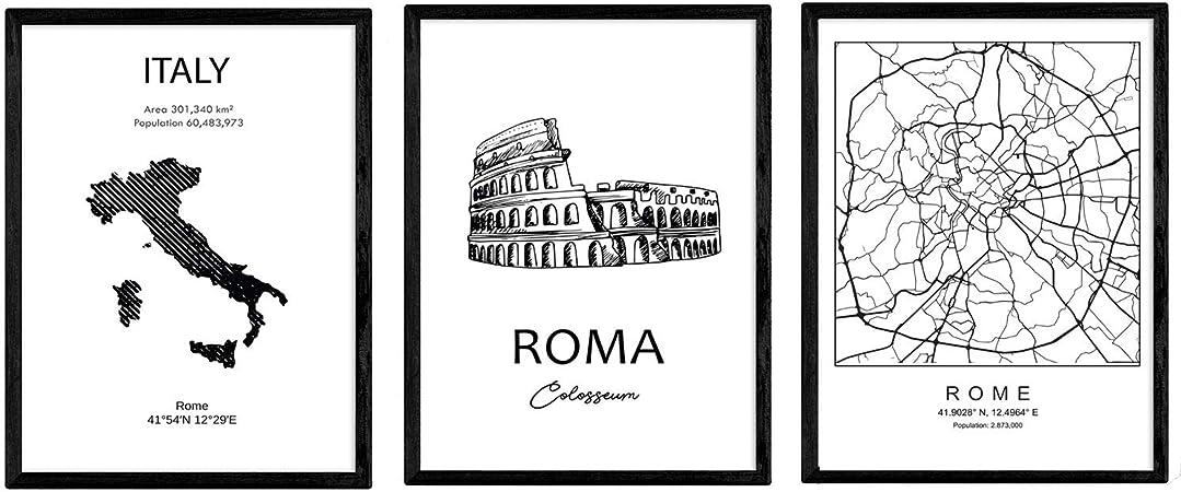 Pack de Posters de Paises y monumentos. Mapa Ciudad de Roma ...