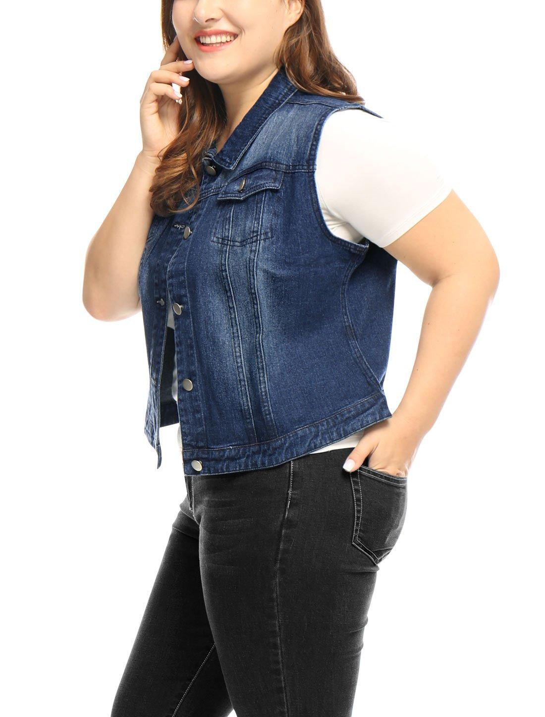 uxcell Women Plus Size Slim Fit Denim Vest Blue 1X by uxcell (Image #3)