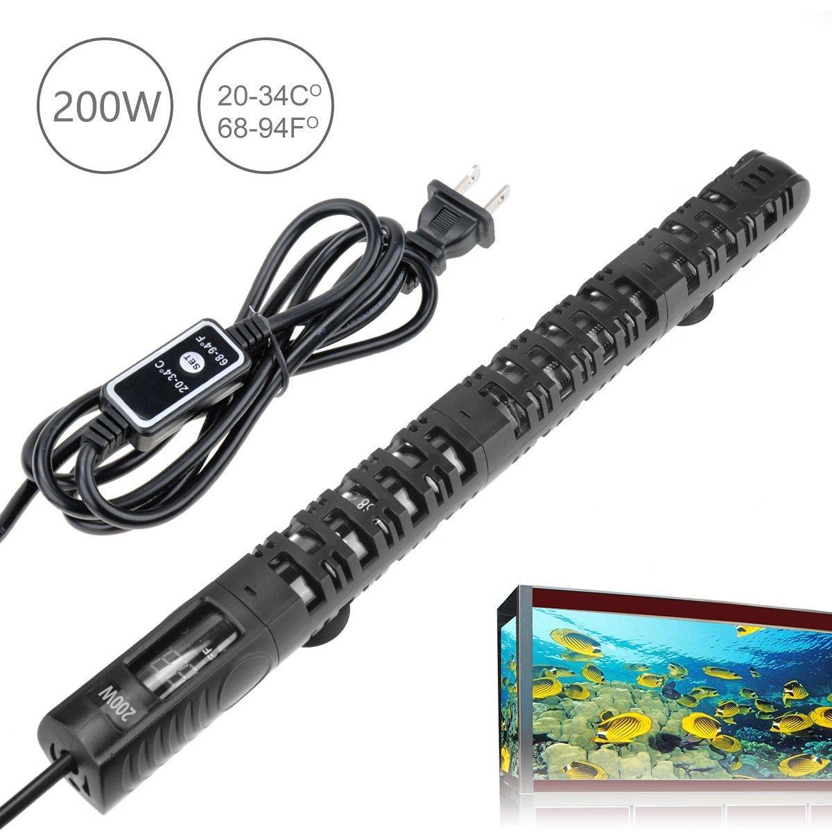 Chauffage pour Aquarium 300W Iseebiz Réglable 20-34℃ Écran LED Numérique ave 2 Ventouse pour Aquarium 120-250L 80-100cm Issebiz