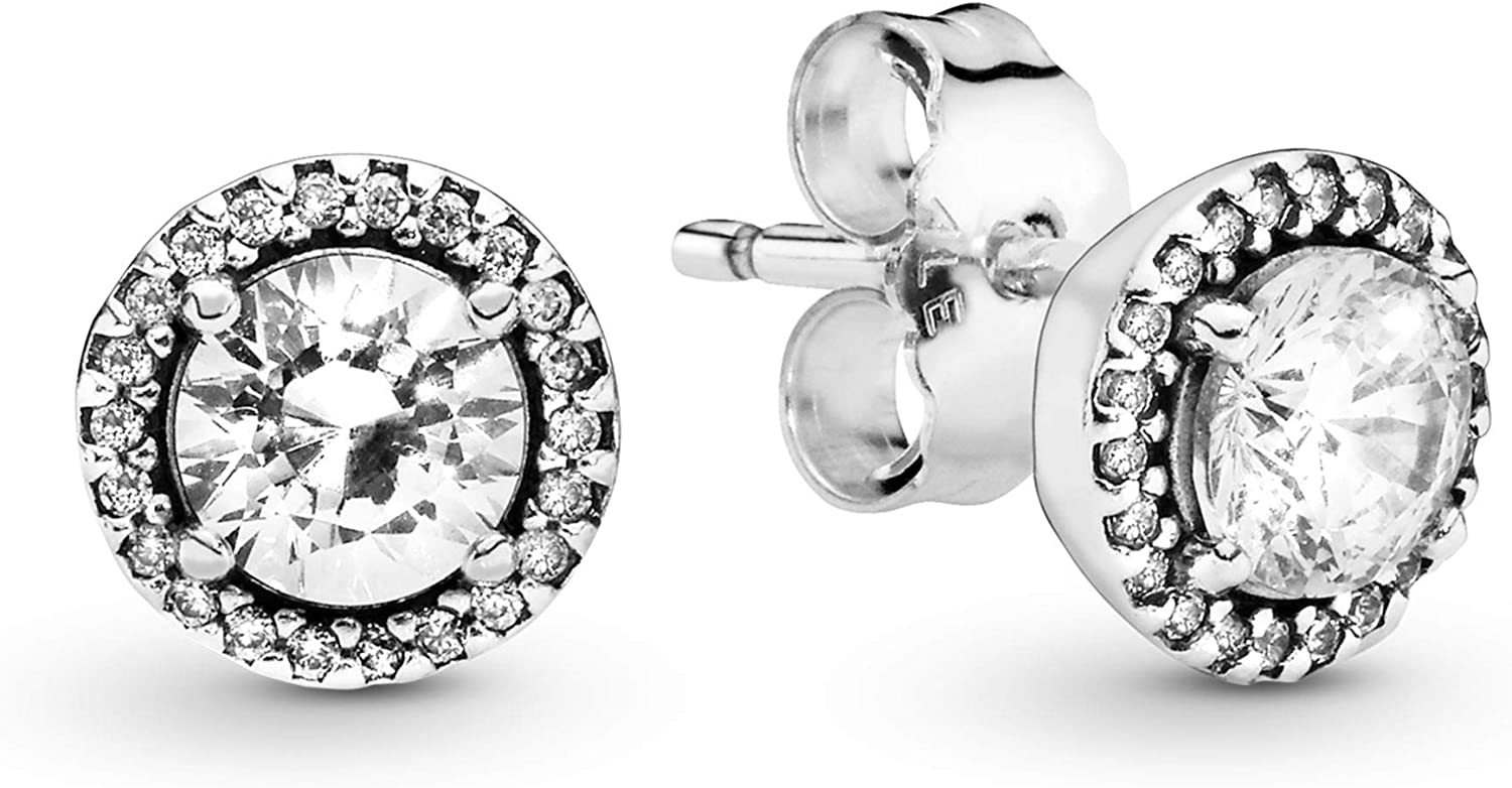 925 Sterling Silver Crown Stud Earrings with Clear Crystals Boxed