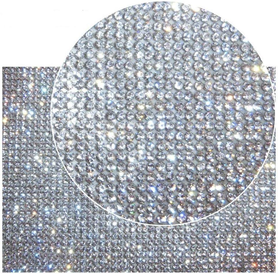 DXDECOR 9.4in X 15.7in Bling Crystal Rhinestone DIY Decoration Sticker,Self Adhesive Crystal Sheet with 2mm Rhinestones (Clear Crystal)