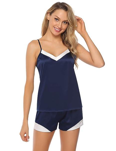 808c22adcb Hawiton Pijama Mujer Verano Corto Conjunto de Pijamas Pantalones Manga  Corto Camison y Kimonos Saten 2 Piezas Encaje Ropa de Dormir Camisón para  Salón  ...