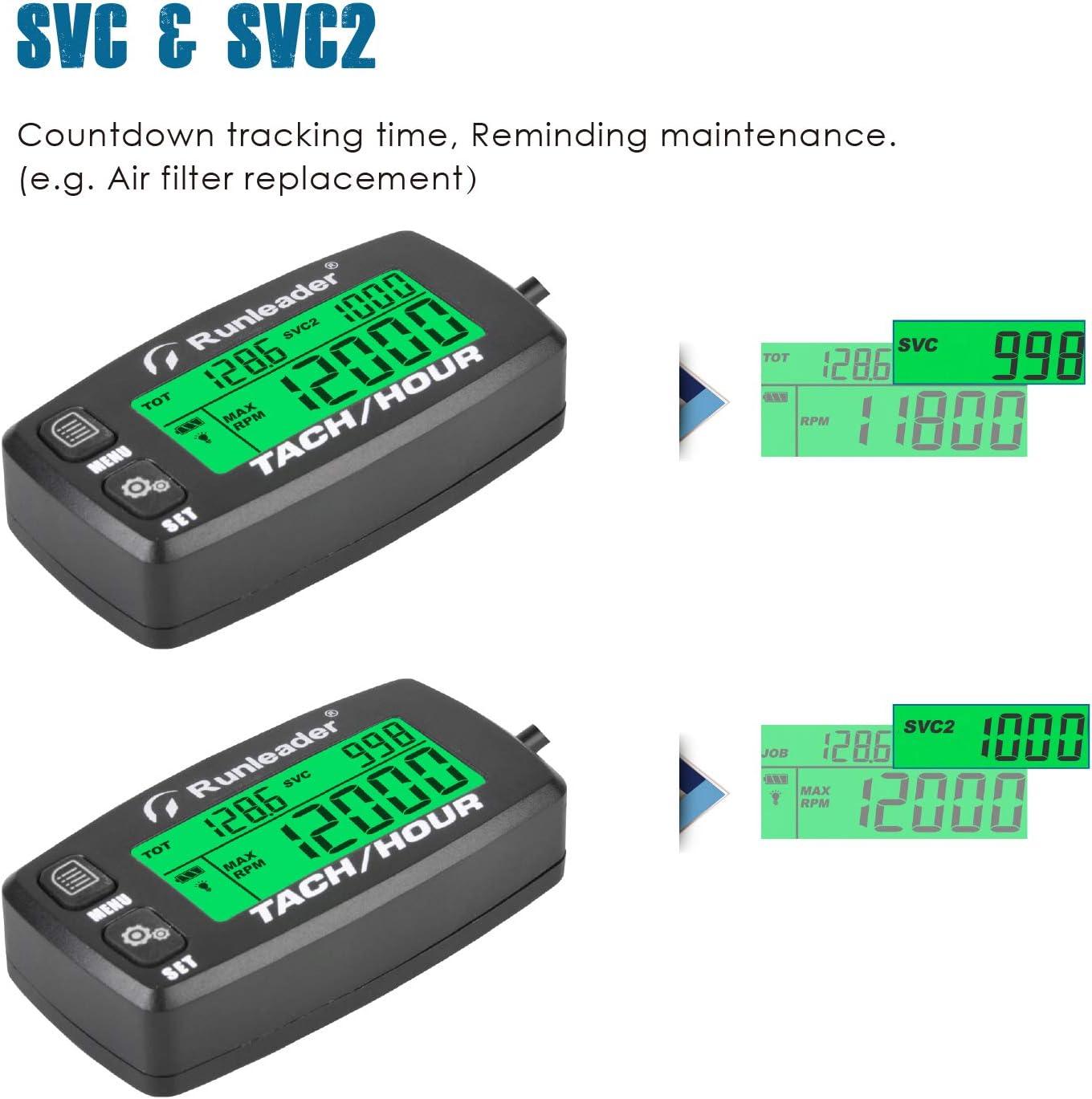 Contador de horas Runleader Tac/ómetro Bater/ía reemplazable Recordatorio de mantenimiento Uso para generador de cortac/ésped ATV marino y equipos a gas Horas iniciales configurables HM058B-RD