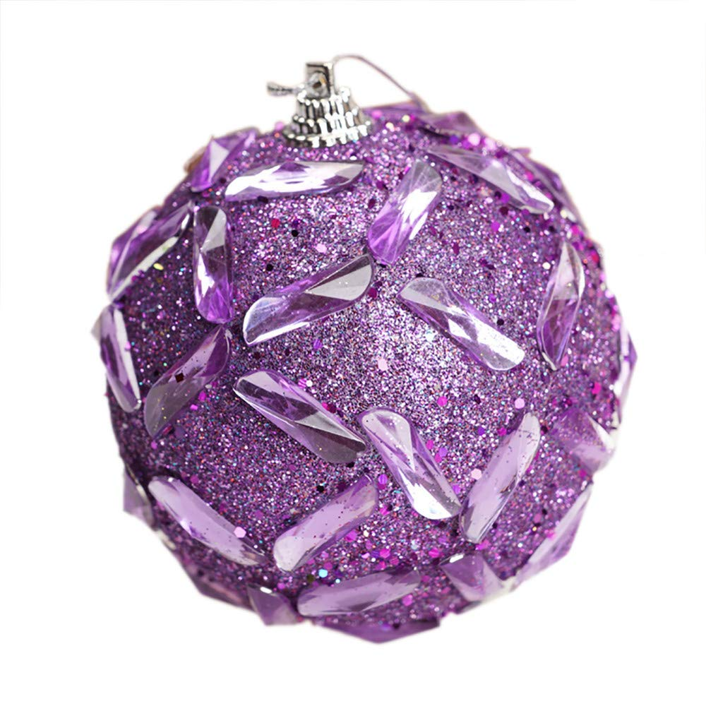 8cm Rhinestone Glitter Baubles Balls,Pausseo Merry Christmas Xmas Tree Ornament Decoration Hanging Pendant Creative Display DIY Home Decor Door Hanging Kids Toy Doll Gift Festival Prop (Purple)