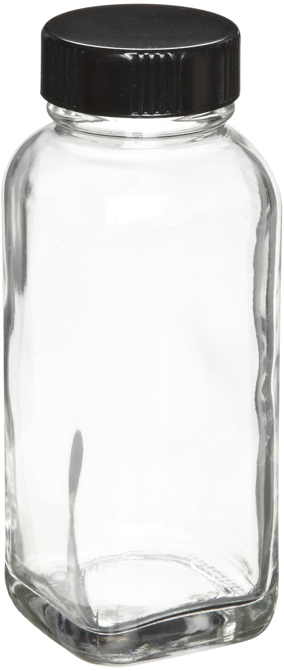 Wheaton W216886 French Square Bottle, Clear Glass, Capacity 4oz With 33-400 Black Phenolic Rubber Lined Screw Cap, Diameter 45mm x 111mm (Case Of 24)