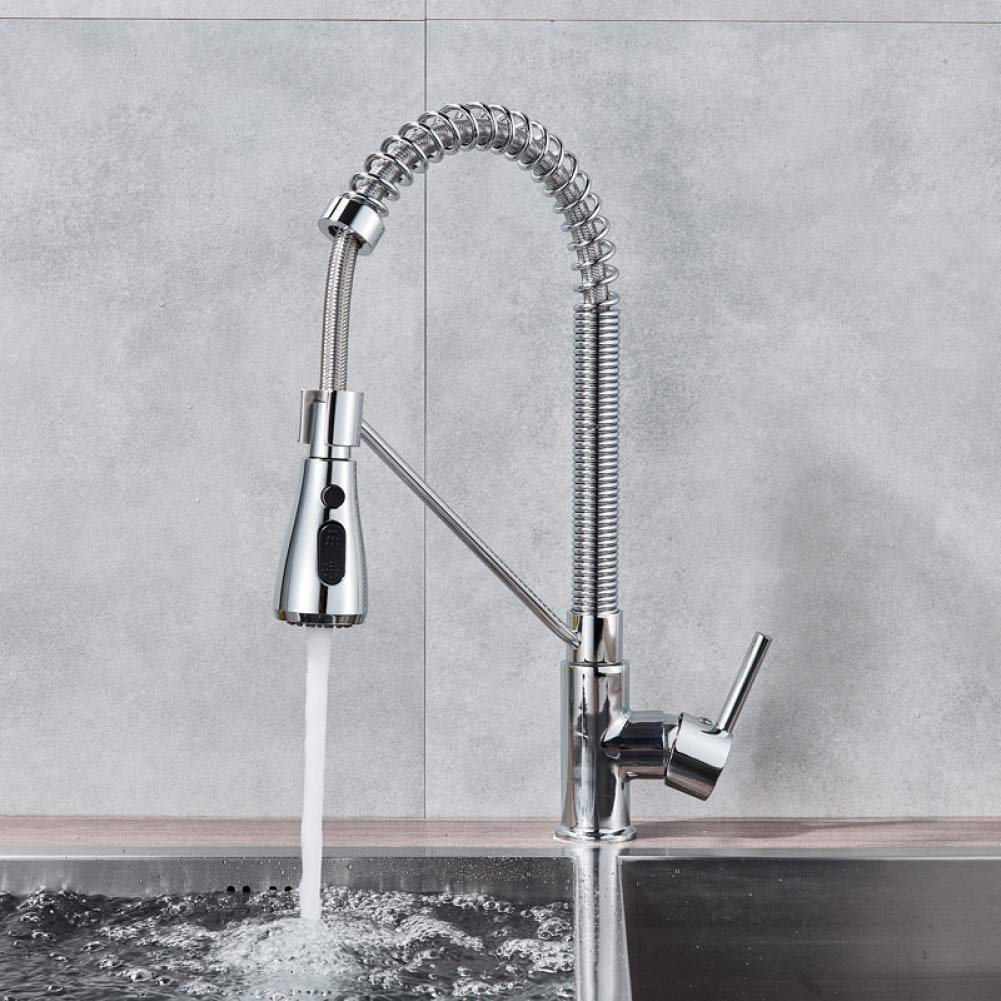 KLYBFN Schwarz Pull Down Küchenarmatur Einhebel Freisprecheinrichtung Sprayer Küchenmischbatterie Chrom Gebürstet Kaltmischbatterie Wasserhahn Für Küche