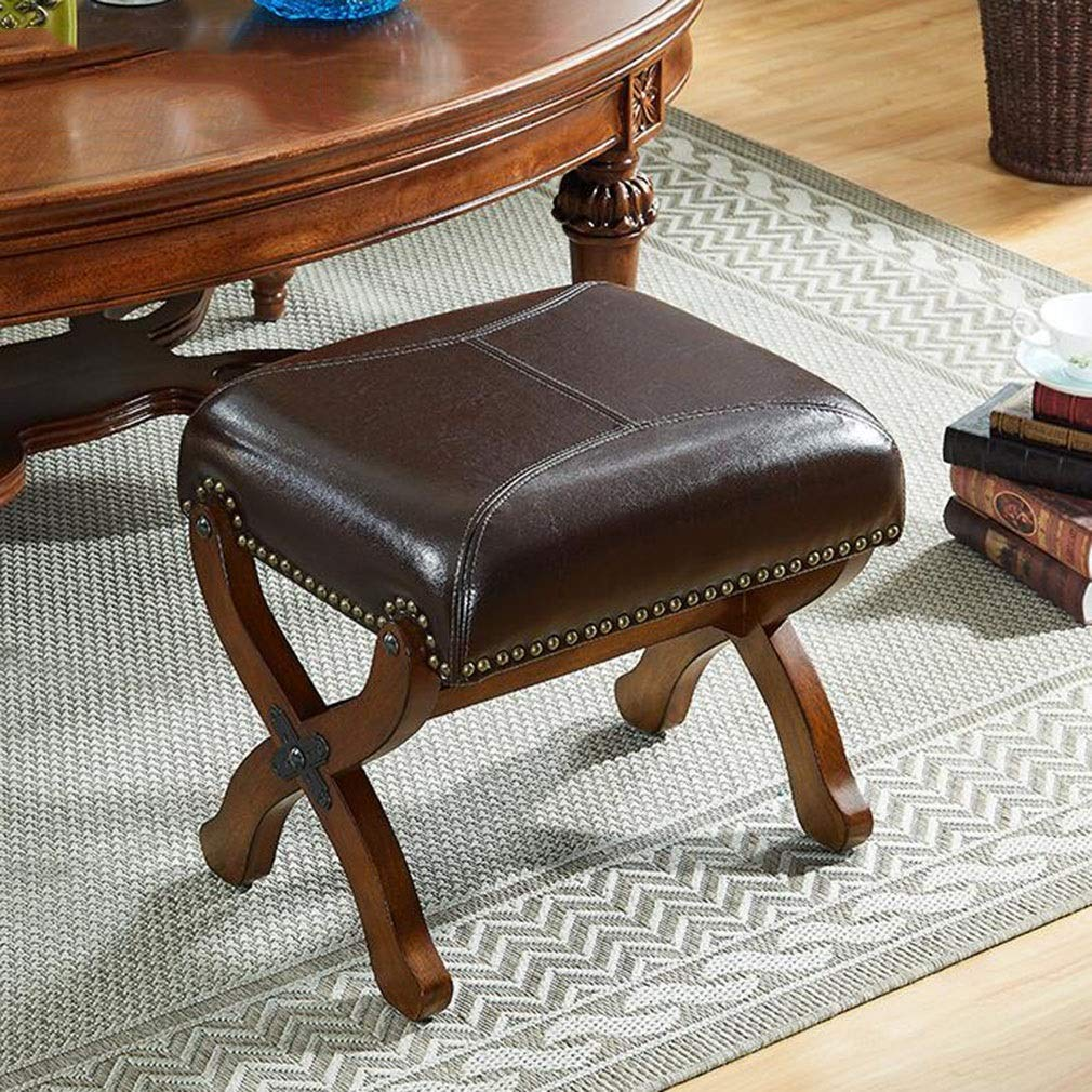 Amazon.com: QQXX ?Vintage Square Leather Footstool Sofa ...