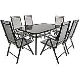 Charles Bentley 6 Seater Rectangular Textilene Dining Furniture Set 6 Chairs Table Outdoor Garden Patio - Black
