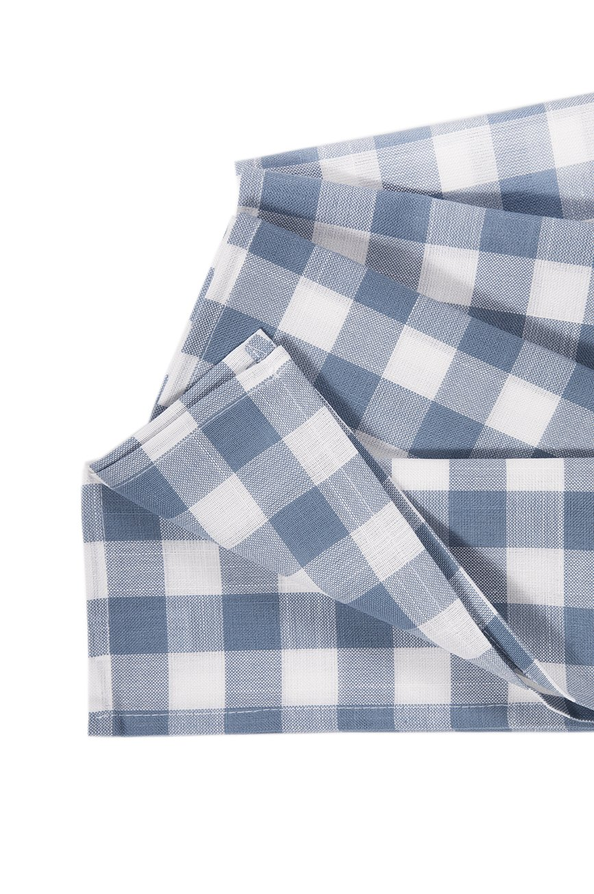 Xia Home Fashions Gingham Check Napkins, 20 by 20-Inch, Blue, Set of 4