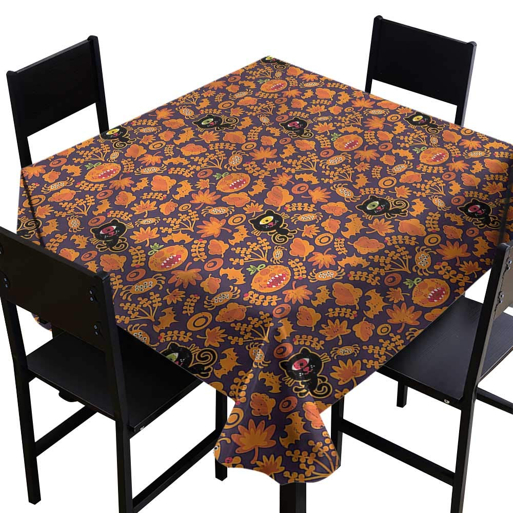 Anshesix 防水テーブルクロス ビンテージ ハロウィン 黒猫モチーフ テーブル装飾 インドア アウトドア キャンプ ピクニック W70