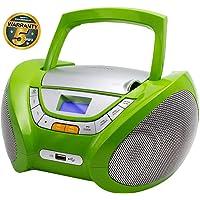 Lauson Lecteur CD   Radio Portable   USB   Radio Stéréo CD Lecteur MP3 pour Enfant   Chaîne Stéréo   Prise Casque   Aux in - Écran LCD - Batterie et Alimentation Électrique   CP444 (Vert)