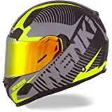 NENKI Helmets NK-856 Full Face Motorcycle Helmets DOT Approved With Iridium Red Visor and Inner Sun Shield Attached Outer Clear Visor (L, Matt Black & Yellow)