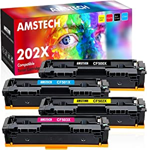 Amstech Compatible Toner Replacement for 202A HP 202X Toner CF500X HP Color Laserjet Pro MFP M281fdw Toner M281cdw M254dw M254dn M280nw HP 202A Toner Cartridges (Black Cyan Yellow Magenta, 4-Pack)