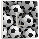 3D Footballs Light Switch Stickers Mural Boys Bedroom Soccer Photo