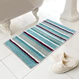 Chenille Soft Touch Absorbent Microstripe Striped Heavy Weight Bath Mat Rug Bathroom Toilet Teal Blue