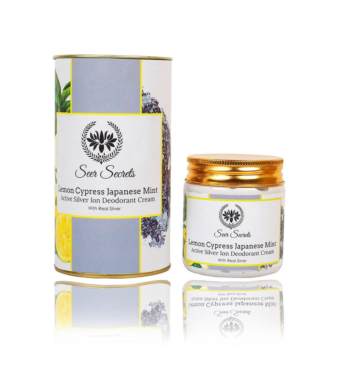 Seer Secrets Lemon Cypress Japanese Mint Active Silver Ion Deodorant Cream Whitening & Bleaching (100Gms) product image