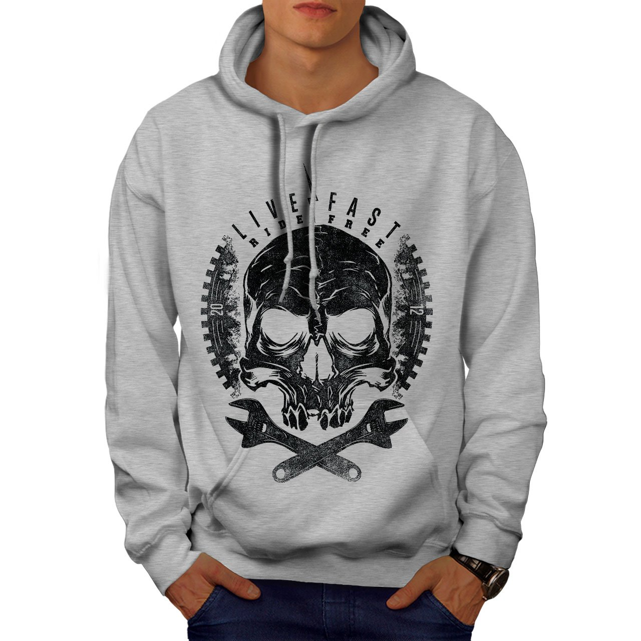 wellcoda Skull Head Ride Biker Mens Hoodie Motor Hooded Sweatshirt
