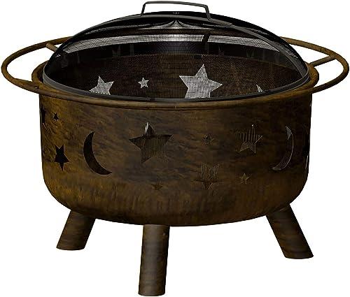 Landmann 28352 12.5 Inch Deep Big Sky Antique Bronze Finish Night Sky Wood Burning Bowl Fire Pit