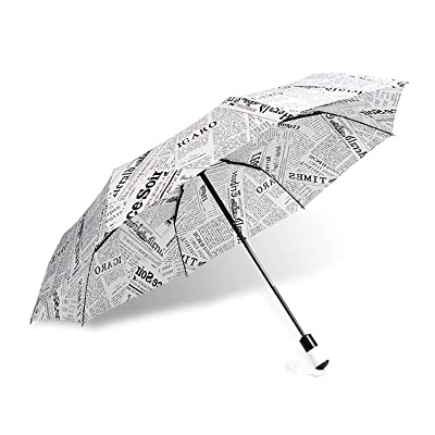 Fashion Automatic Folding Travel Umbrella Print Retro Newspaper Uv Protection (white) : Garden & Outdoor