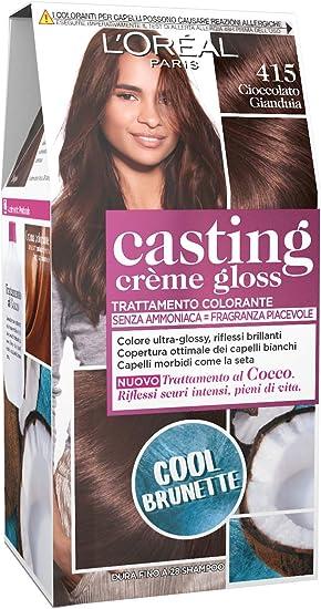 LOréal Paris Hair Dye Casting Creme Gloss, sin amoníaco para una fragancia agradable, 415 Gianduia Chocolate, paquete de 1