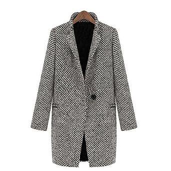 Windbreaker Damen Kolylong Frauen Elegant Wolljacke Lange Herbst Winter  Warm Windbreaker Vintage Mantel Slim Parka Outwear dff3780a3d